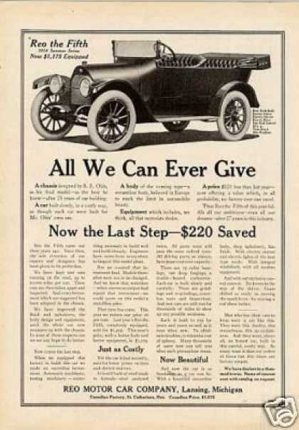 """Reo Car Ad """"All We Can Ever Give... (1914)"""