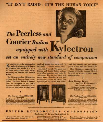 """United Reproducers Corporation's Various – """"It isn't Radio – It's the Human Voice."""" The Peerless and Courier Radios equipped with Kylectron set an entirely new standard of comparison (1929)"""