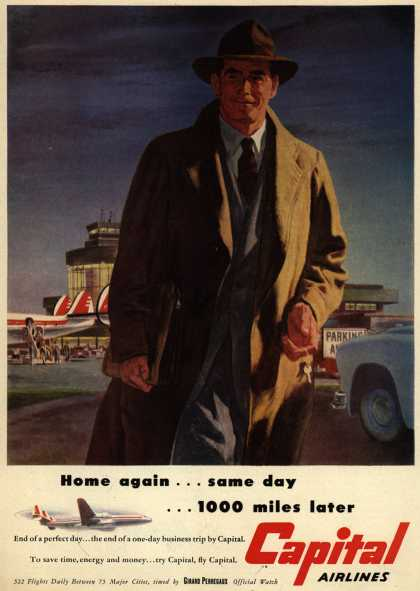 Capital Airline's Business Travel – Home again... same day... 1000 miles later (1951)