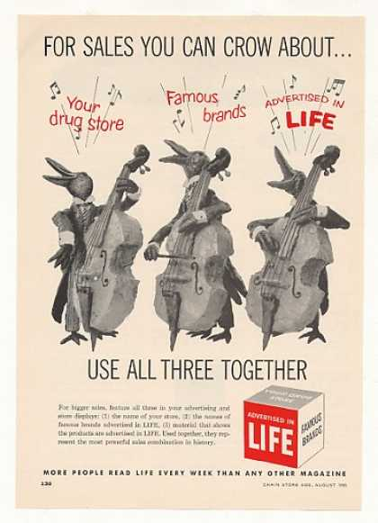 Crows Play Bass Life Magazine Advertising Trade (1955)