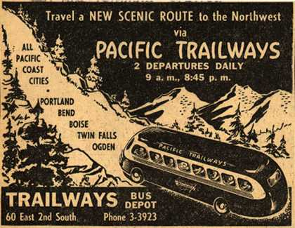 Pacific Trailway's Scenic routes – Travel a New Scenic Route to the Northwest via Pacific Trailways (1946)