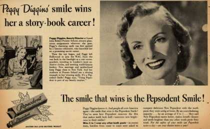 Lever Brothers Company's Pepsodent Tooth Paste – Peggy Diggins' smile wins her a story-book career (1948)