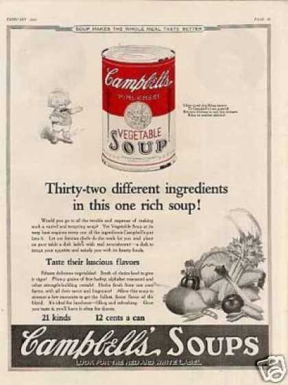 """Campbell's Vegetable Soup Ad """"Thirty-two... (1923)"""