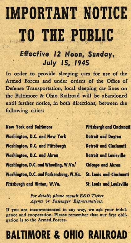 Baltimore & Ohio Railroad's sleeping cars – Important Notice To The Public (1945)