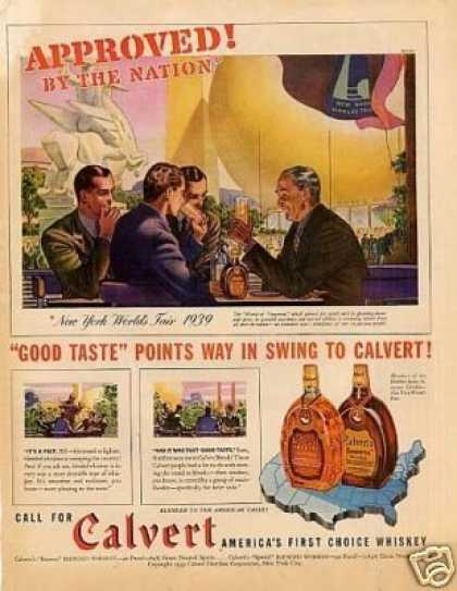 """Calvert Whiskey Ad """"Approved By the Nation... (1939)"""