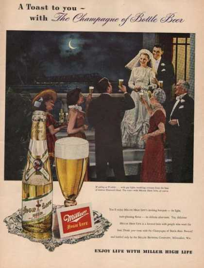 Toast To You Miller High Life Beer Print A (1949)