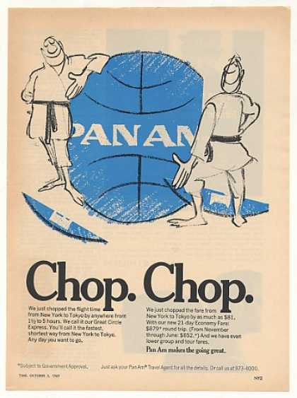 Pan Am Airlines Chop Flight Time Fare to Tokyo (1969)