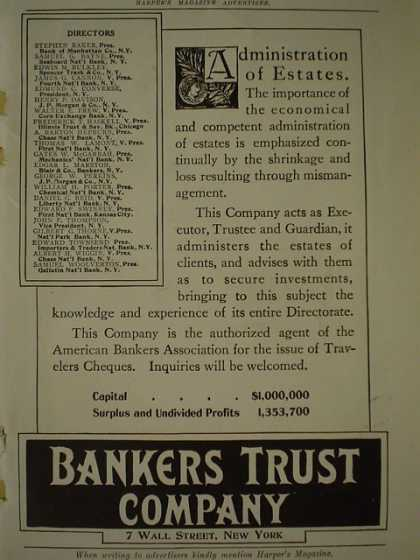 Bankers Trust Co Administration of Estates (1909)