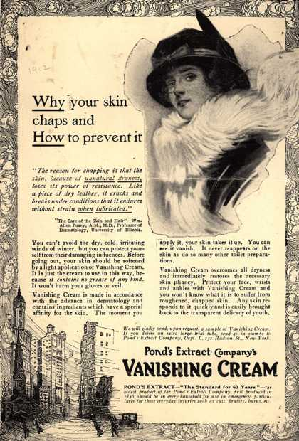 Pond's Extract Co.'s Pond's Vanishing Cream – Why your skin chaps and How to prevent it (1912)