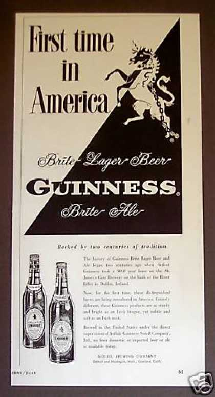 Guinness Brite Beer Ale 1st Time In America (1955)