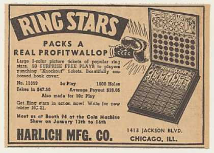 Harlich Ring Stars Punchboard Game (1940)