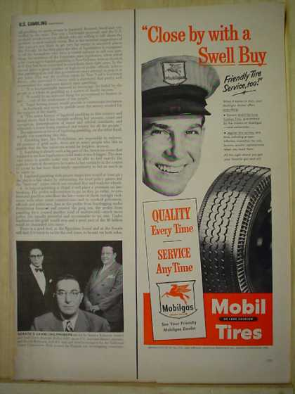 Mobilgas Mobil Tires Quality every time Close by with a swell buy (1950)
