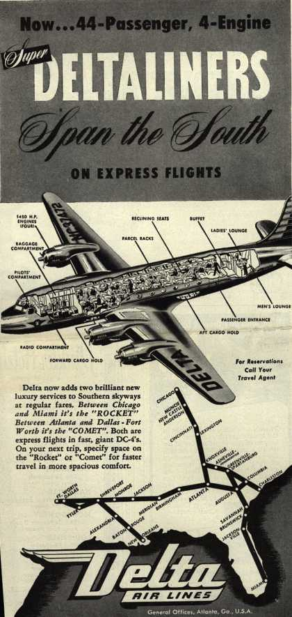 Delta Airline's Rocket and Comet planes – Now... 44-Passenger, 4-Engine Super Deltaliners Span the South on Express Flights (1946)