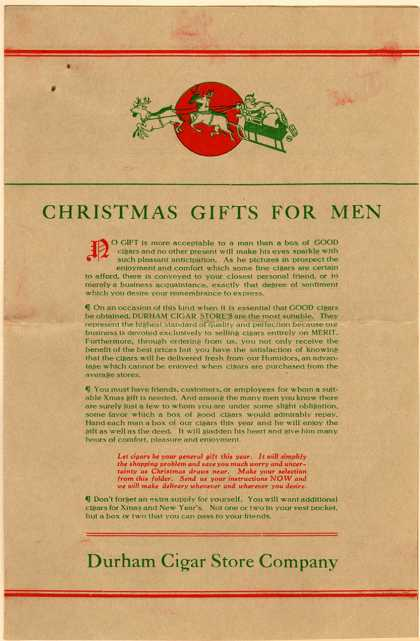 Durham Cigar Store Co.'s Cigars, cigarettes, tobacco – Christmas Gifts for Men