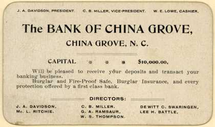Bank of China Grove's banking services – The Bank of China Grove, China Grove, N.C.