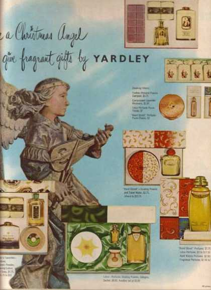"""Yardley's """"Be a Christmas Angel. Give fragrant gifts by (1951)"""