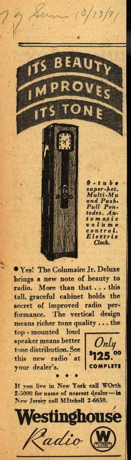 Westinghouse Radio's Columaire jr. deluxe – It's beauty improves its tone (1931)