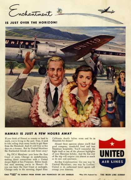 United Air Line's Hawaii – Enchantment Is Just Over The Horizon! Hawaii Is Just A Few Hours Away (1949)