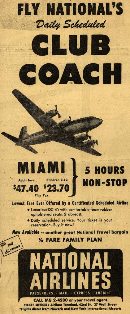 National Airline's Air fare – FLY NATIONAL'S Daily Scheduled CLUB COACH (1949)