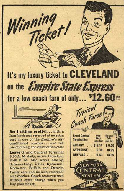 New York Central System's Cleveland – Winning Ticket (1947)