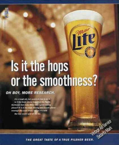 """Miller Lite Beer """"Oh Boy, More Research"""" (1999)"""