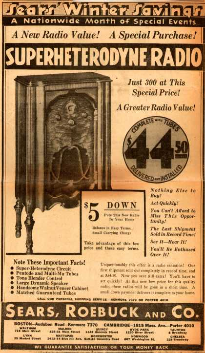 Sears, Roebuck and Co.'s superheterodyne radio – Sears' Winter Savings. A Nationwide Month of Special Events. A new Radio Value! A Special Purchase! Superheterodyne Radio. (1952)