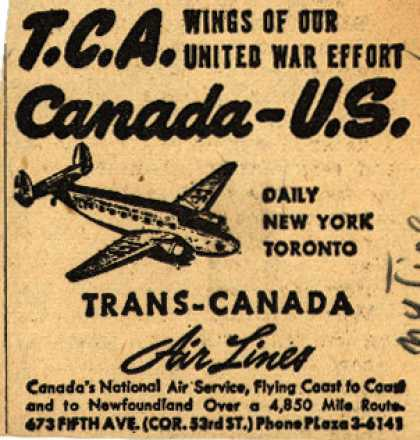 Trans-Canada Airline's New York-Toronto – T.C.A. Wings of our United War Effort Canada-U.S. (1942)