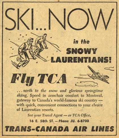 Trans-Canada Air Line's Snowy Laurentians – Ski Now in the Snowy Laurentians! Fly TCA (1954)