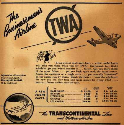 Transcontinental & Western Air's Business Travel – The Businessman's Airline (1940)