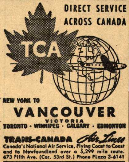 Trans-Canada Air Line's New York to Vancouver – Direct Service Across Canada (1945)