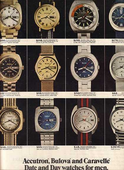 Accutron, Bulova and Caravelle's Date and Day watches for men (1971)