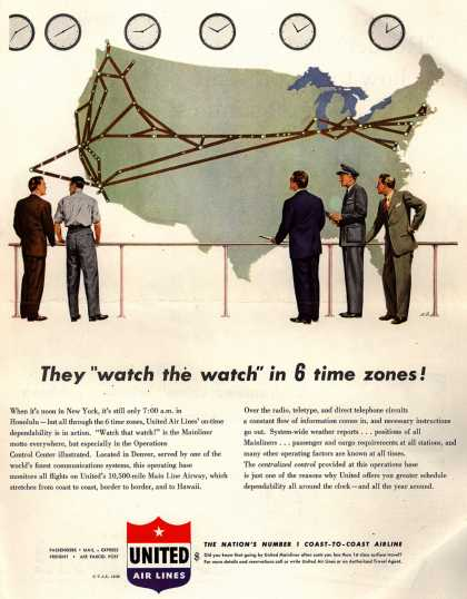 """United Air Lines – They """"watch the watch"""" in 6 time zones (1950)"""