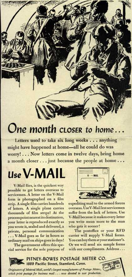 Pitney-Bowes Postage Meter Co.'s V-Mail – One month Closer to home... (1944)