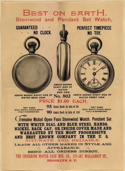 Criterion Watch Case Mfg. Co.'s Stemwind and Pendant Set Watch – Best on Earth