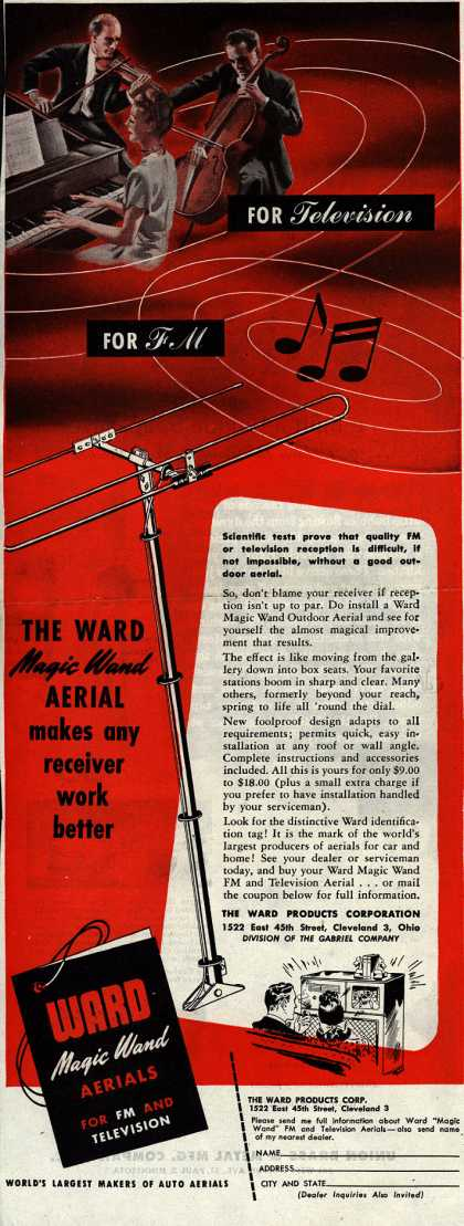 Ward Products Corporation's Ward Magic Wand Outdoor Aerial – For Television. For FM (1947)