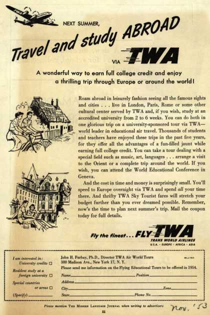 Trans World Airline's Summer study tours – Next Summer, Travel and Study Abroad (1953)