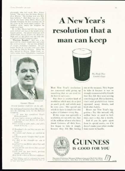 Very Rare 2/3 Page Guinness New Year Resolution (1935)
