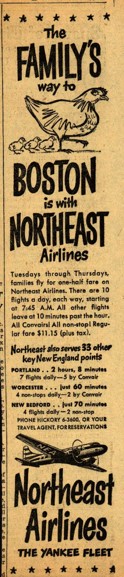 """Northeast Airline's Boston – The FAMILY""""S way to BOSTON is with NORTHEAST Airlines (1950)"""