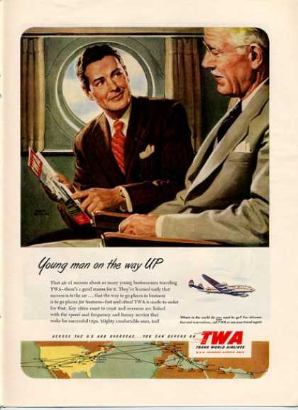 Twa Airlines Young Old Busineessman (1952)