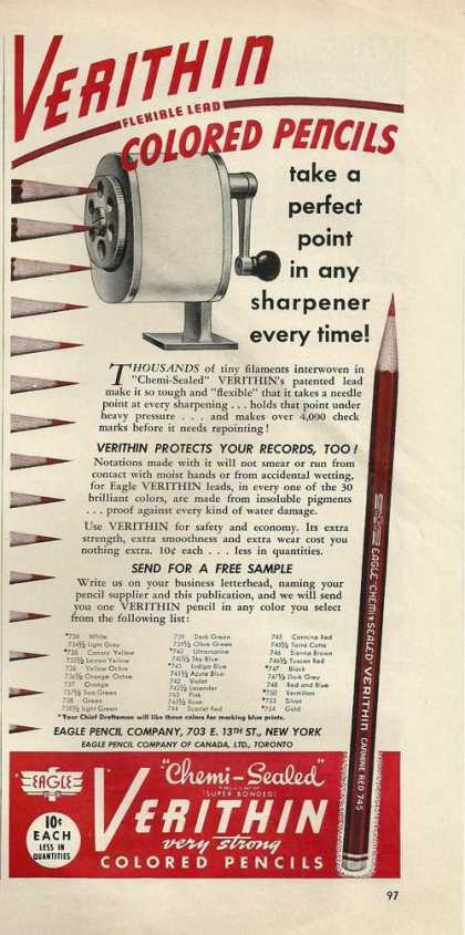 Verithin Colored Pencils and Sharpener (1941)