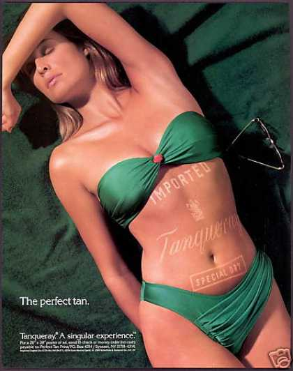 Tanqueray Gin Perfect Tan Sexy Woman Swimsuit (1990)