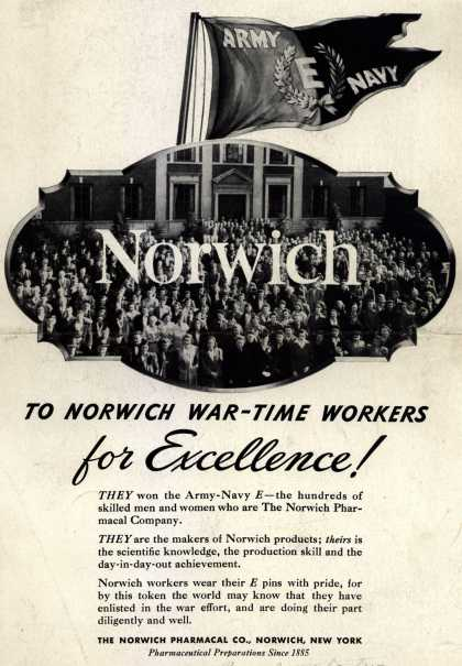"""Norwich Pharmacal Co.'s Army Navy """"E"""" – To Norwich War-Time Workers for Excellence (1943)"""