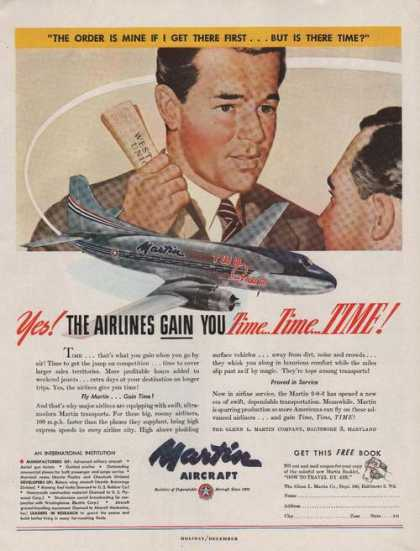 Airlines Gain You Time Martin Aircraft (1947)