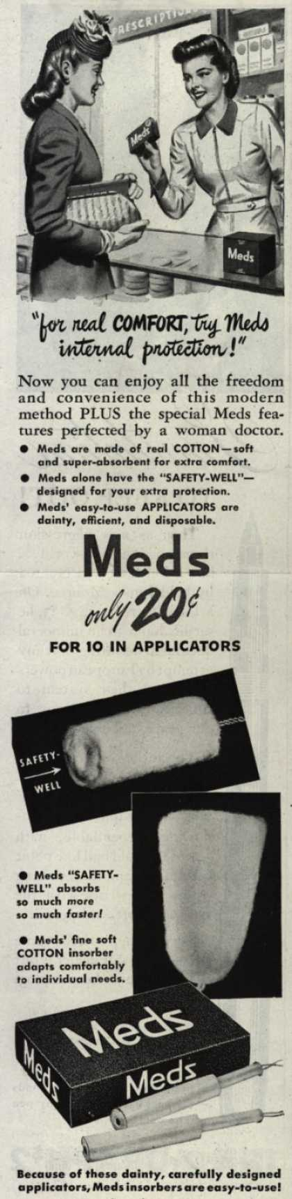 """Personal Products Corporation's Meds Tampons – """"for real comfort, try Meds internal protection!"""" (1945)"""