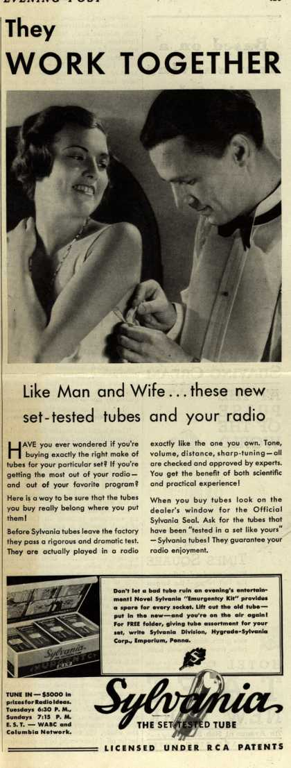 Sylvania Radio Tube's Radio Tubes – They Work Together like Man and Wife... these new set-tested tubes and your radio (1931)