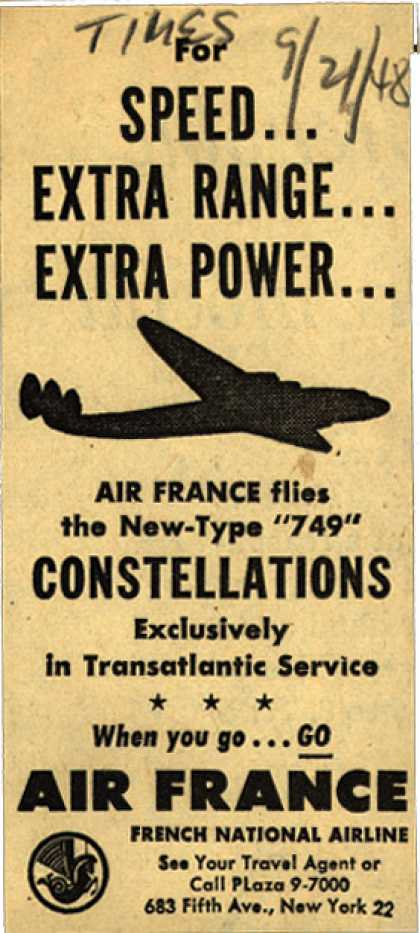 """French National Airline's """"749"""" Constellations – For Speed... Extra Range... Extra Power (1948)"""