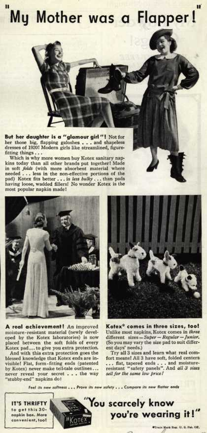 """Kotex Company's Sanitary Napkins – """"My Mother was a Flapper!"""" (1940)"""