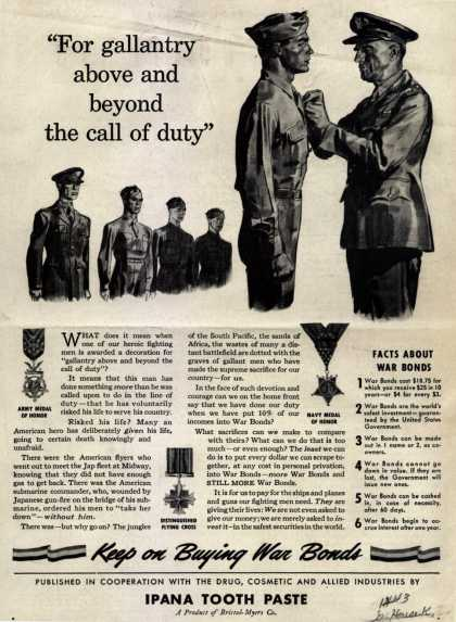 """U. S. Government's War Bonds – """"For gallantry above and beyond the call of duty"""" (1943)"""