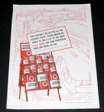 Old , Texaco Motor Oil, Red Can (1935)