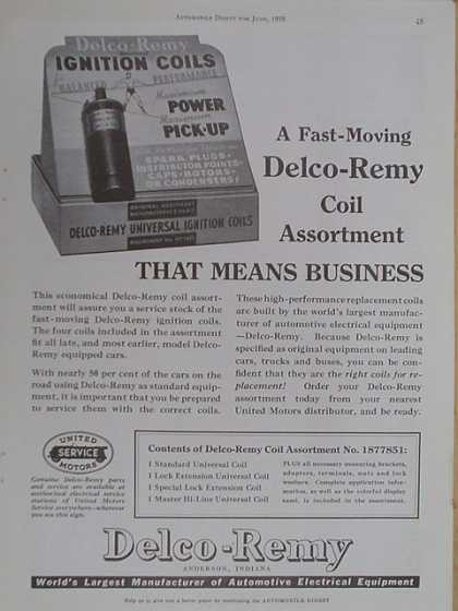 Delco Remy Coil Assortment. That means business (1939)
